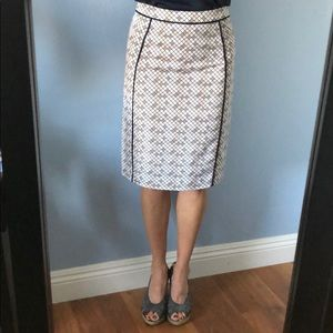 DownEast Geometric Pattern Pencil Skirt